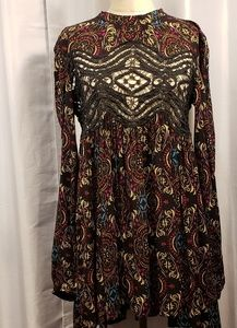 Free People Boho Long Sleeve Lace Front Dress NWT